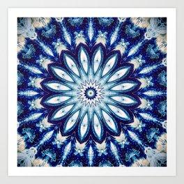 Dark Blue Textured Mandala design Art Print