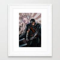 berserk Framed Art Prints featuring Dark and Light by Tanzer Dragon