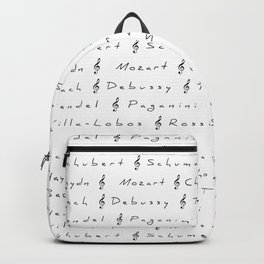 Classical Music Composers, pattern, Mozart, Beethoven, Chopin Backpack