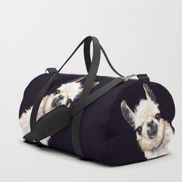 Sneaky Llama in Black Duffle Bag