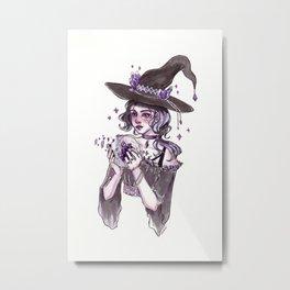 Crystal Ball Inktober Painting Metal Print