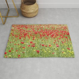 Meadow With Beautiful Bright Red Poppy Flowers  Rug