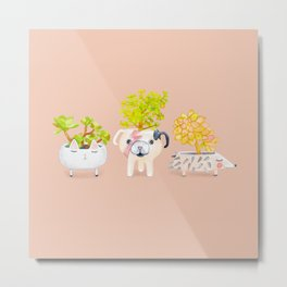 Kawaii dog cat hedgehog succulents Metal Print