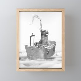 BABY ELEPHANT BATH Framed Mini Art Print