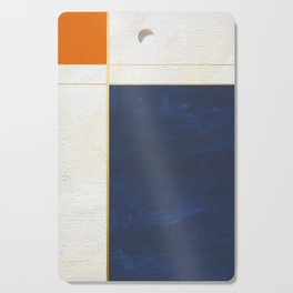Orange, Blue And White With Golden Lines Abstract Painting Cutting Board