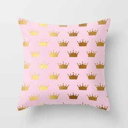 Gold Glitter effect crowns on pink - Royal Pattern for Princesses Throw Pillow