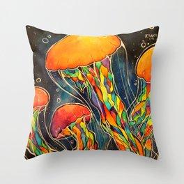 Rainbow Jellies Throw Pillow
