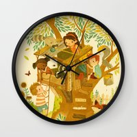 woods Wall Clocks featuring Our House In the Woods by Teagan White