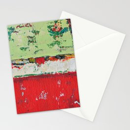 Dixon Red Green Abstract Painting Print Stationery Cards