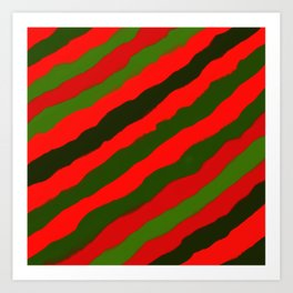 Merry Red Green Holiday Stripes Art Print