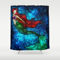 mermaids Shower Curtains featuring The Mermaids Song by Mandie Manzano