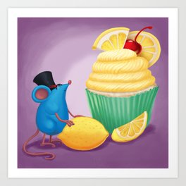Mr. Bluemouse and a Lemon Cupcake Art Print