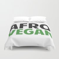 afro Duvet Covers featuring Afro Vegan by Duronchavis