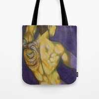 naked Tote Bags featuring naked by Federico Cortese