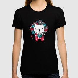 Doodle Lion on Aqua Triangle Background T-shirt