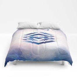 Indigo Hexagon :: Floating Geometry Comforters