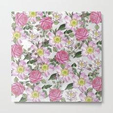 Vintage Rose Pattern Pink and White Metal Print