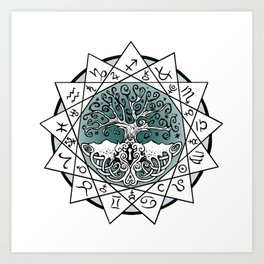 Gate and Key 13 Sign Astrology Art Print