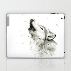 Wolf Howling Watercolor Animals Wildlife Painting Animal Portrait Laptop & iPad Skin