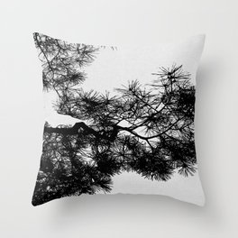 Pine Tree Black & White Throw Pillow