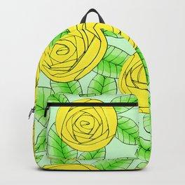 Golden Roses // Floral Print Backpack