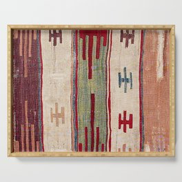 Arcade Star Kilim // 17th Century Colorful Muted Lime Green Southwest Cowboy Ornate Accent Pattern Serving Tray