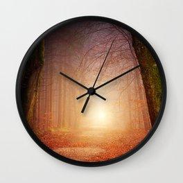 Foggy Forrest sunset Wall Clock