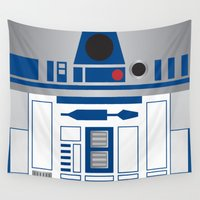 r2d2 Wall Tapestries featuring R2D2 by Sam Del Valle