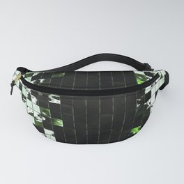 Green Accent Black And White Square Tiled Ceramic Mosaic Pattern Fanny Pack