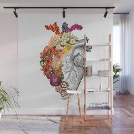 Flower Heart Spring White Wall Mural