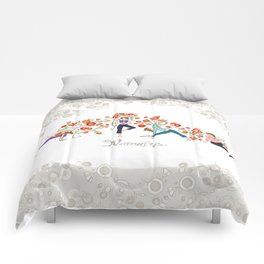 Yoga Girls_Namaste_Poses and Flowers Large scale Comforters