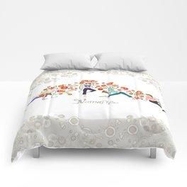 Yoga Girls_Namaste_Poses and Flowers Large scale Comforters