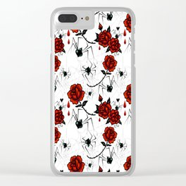 Black Widow Spider with Red Rose Clear iPhone Case