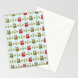 Wrapped Presents Under the Tree Green and Red Stationery Cards