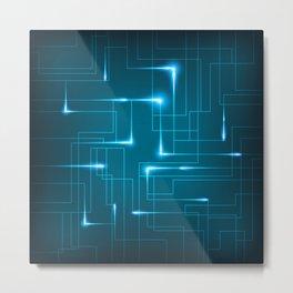 Blue Neon Circuit Board Metal Print
