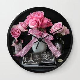 Paris French Pink Roses Black Pink Parisian Prints Home Decor Wall Clock
