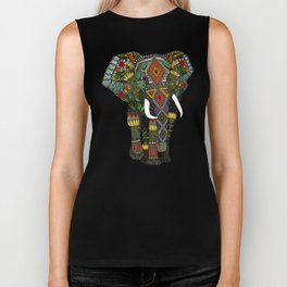 floral elephant teal Biker Tank