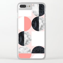 Mid Modern Moon and Sun Marble Pattern - living coral Clear iPhone Case