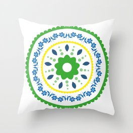 Green suzani inspired floral round placement Throw Pillow