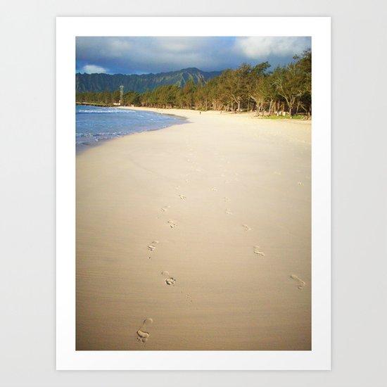 footprints in the sand. Art Print