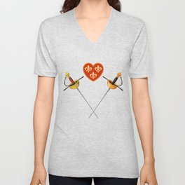 Two swords and scroll Unisex V-Neck