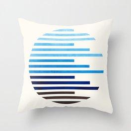 Mid Century Modern Minimalist Circle Round Photo Prussian Blue Staggered Stripe Pattern Throw Pillow
