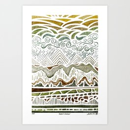 Abstract Green Landscape Watercolor Art Print