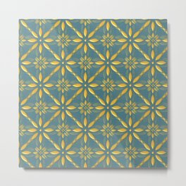 golden blue pattern Metal Print