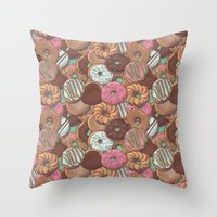 donuts Throw Pillows featuring Donuts by Mario Zucca