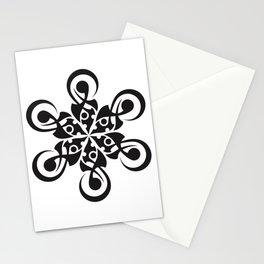 crop circle flower black Stationery Cards