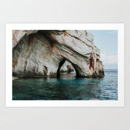 The Blue Caves | Colourful Travel Photography | Zakynthos, Greece (Zante) Art Print