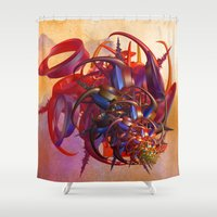 sci fi Shower Curtains featuring Sci-fi insect by Gaspar Avila
