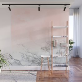 Blush Pink on White and Gray Marble III Wall Mural