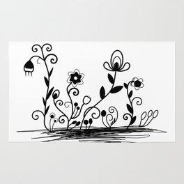 B&W floral Rug